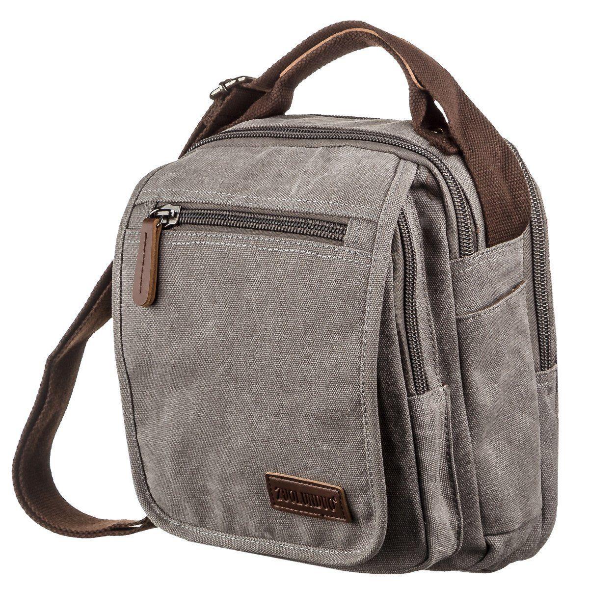 Универсальная текстильная мужская сумка на два отделения Vintage 20198 Серая