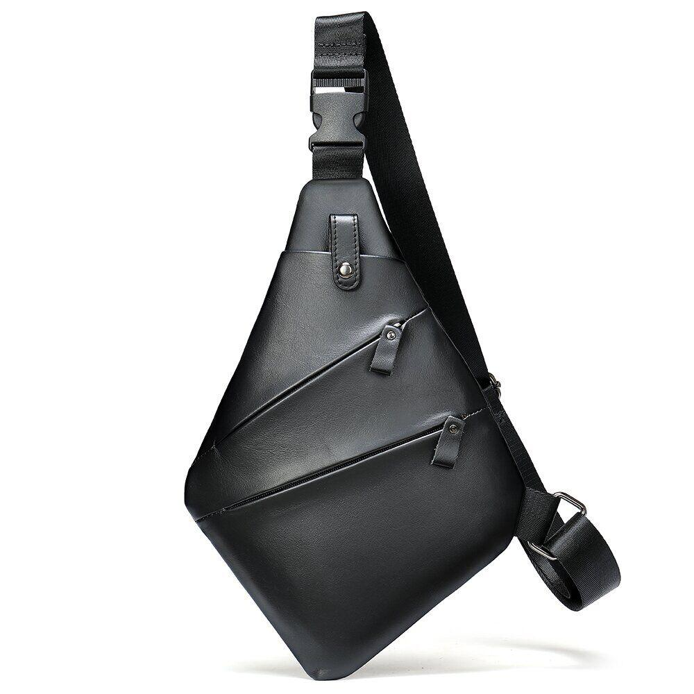 Практичная сумка через плечо кожаная 14997 Vintage Черная