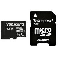 Карта памяти Transcend Micro SDHC Premium 16Gb class 10 UHS-I +SD adapter