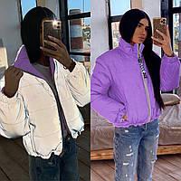 Курточка двосторонній дутик жіноча з рефлекторної тканини (светоотрожающая) (зелений,чорний, бузок, малина), фото 1