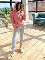 Женский утепленный спортивный костюм на флисе с худи и штанами на манжетах 66051102Q, фото 1