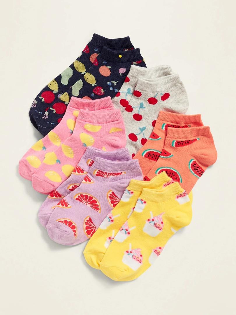 Набор заниженных детских носочков 6 пар с фруктами Олд Неви для девочки