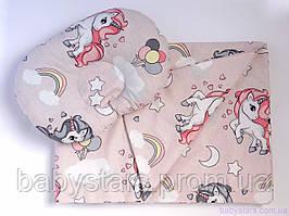 """Пледи для новонародженого + подушка, """"Єдинороги"""""""