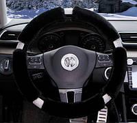 Чехол на руль меховой со стразами (черный) (размер согласовуйте перед оформлением), фото 1