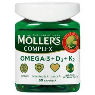 Mollers Complex omega-3 норвезький риб'ячий жир натуральний в капсулах + віт D 2000, віт До 50 мкг + 60 шт