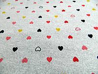 "Ткань принтованный трикотаж на меху ""Сердечки"", фото 1"