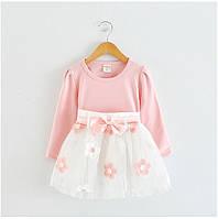 """Детское розовое нарядное платье для девочки """"ЦВЕТОЧКИ""""  длинный рукав"""