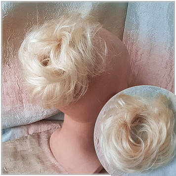Резинка шиньон из натуральных волос(можно красить) блонд SEGA- 613