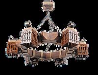 Люстра в стиле Лофт подвесная из дерева на цепи на 6 плафонов 463316