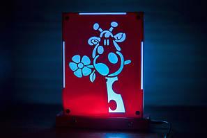 Декоративный настольный ночник Жирафик, теневой светильник, несколько подсветок (батарейка+220В)