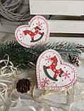 """Деревянная елочная игрушка """"Сердечко с лошадкой"""", ручная работа, 8х8 см, 25/16 (цена за 1 шт. + 9 гр.), фото 3"""