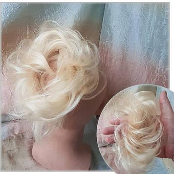 Резинка шиньон из натуральных волос(можно красить) жемчужный блонд SEGA- 60