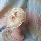 Резинка шиньон из натуральных волос жемчужный блонд SEGA- 60, фото 3