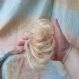 Резинка шиньон из натуральных волос жемчужный блонд SEGA- 60, фото 4
