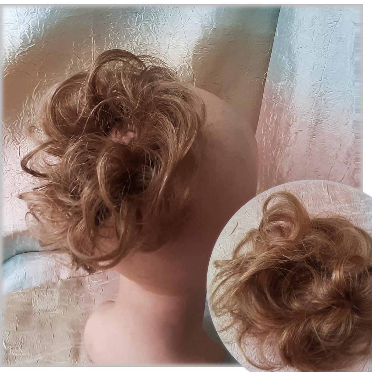 Резинка шиньон из натуральных волос русый SEGA- 6
