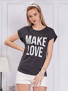 Женская футболка с надписью make love