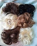 Резинка шиньон из натуральных волос русый SEGA- 6, фото 7