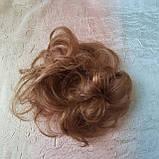 Резинка шиньон из натуральных волос русый SEGA- 6, фото 6