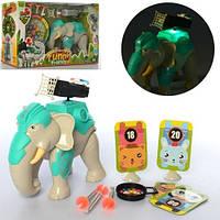 Животное   слон 18см,муз,свет,пули-присоски 4шт, 2 вида,бат(таб),в кор-ке, 36,5-23-11см