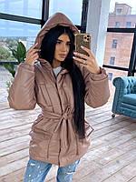 Женская трендовая курточка из эко-кожи Lenki (хаки, чёрный, беж, коричневый, серый, С и М)