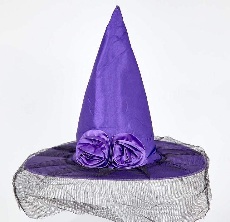 Шляпа колпак Ведьмы с розой и фатином салатовая, фиолетовая