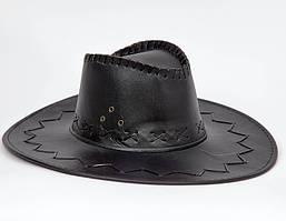 Шляпа карнавальная Ковбой кожзам черная, коричневая