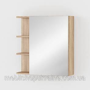 Тумба навесная с зеркалом и полочками Дуб Сонома