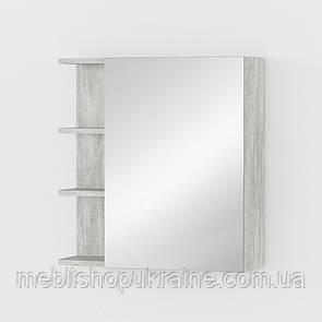 Тумба навесная с зеркалом и полочками Бетон Урбан