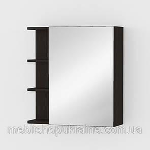 Тумба навесная с зеркалом и полочками Венге Темный