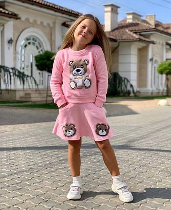 """Детский тёплый костюм с юбкой на флисе 683""""Мишка"""" в расцветках"""