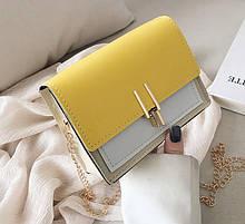 Стильная и модная женская мини сумочка клатч. Маленькая сумка на цепочке для девушки разноцветная Желтый