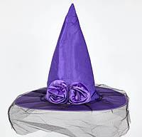 Шляпа колпак Ведьмы с розой и фатином салатовая, фиолетовая, фото 1