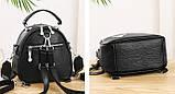 Міні сумочка рюкзак жіночий 2 в 1 в стилі Prada. Жіноча маленька сумка рюкзак Прада., фото 5
