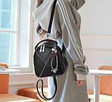 Міні сумочка рюкзак жіночий 2 в 1 в стилі Prada. Жіноча маленька сумка рюкзак Прада., фото 8