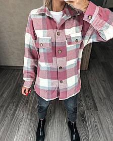 Теплая женская рубашка в клетку 11-340