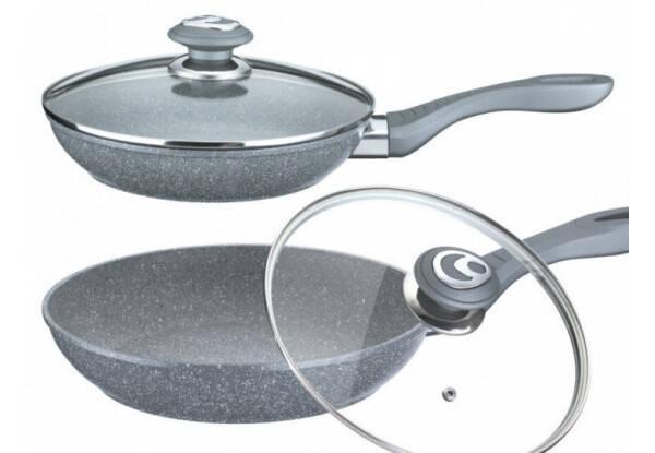 Сковородка Benson глубокая с крышкой и гранитным покрытием 24*5.5 см, фото 2