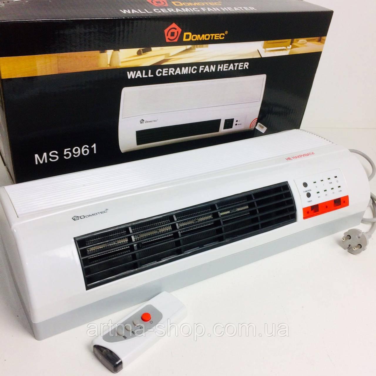 Тепловентилятор настенный Domotec обогреватель, дуйчик, Мощность 2000 Ватт, пульт, 2 режима Белый