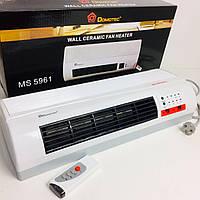Тепловентилятор настенный Domotec обогреватель, дуйчик, Мощность 2000 Ватт, пульт, 2 режима Белый, фото 1