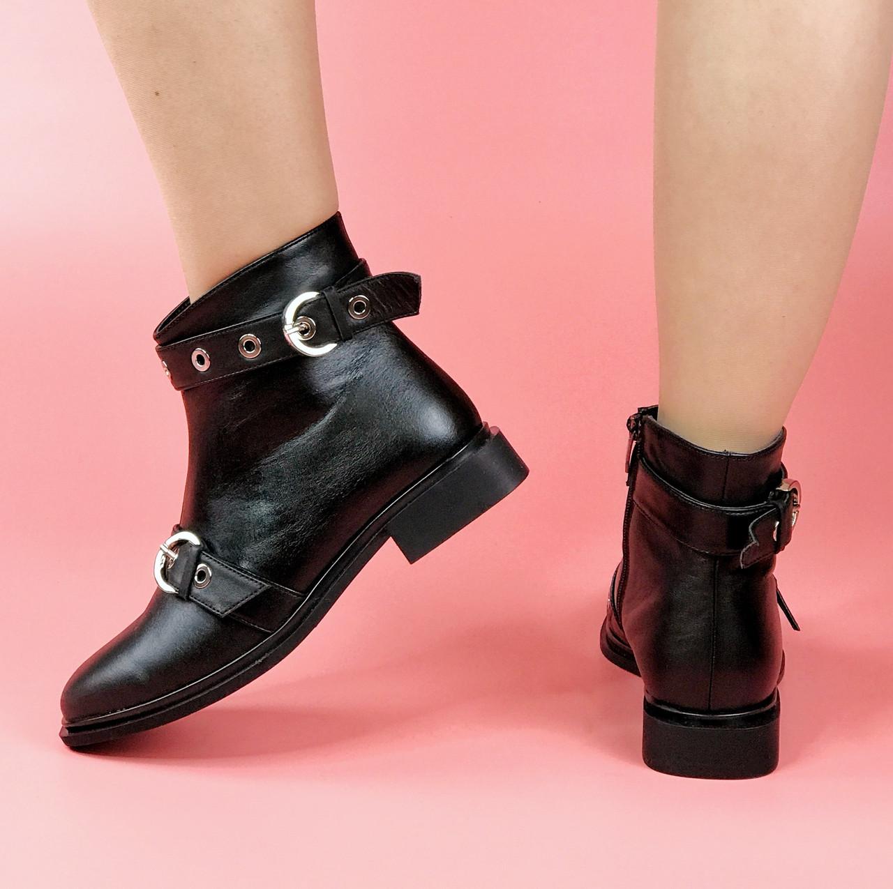 Жіночі черевики KA-224/0 MORENTO (чорні, нат. шкіра, байка, весна/осінь)