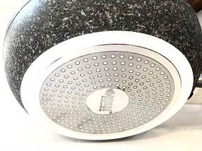 Сковорідка Benson з кришкою і червоно-біло-сірим гранітним покриттям, фото 2