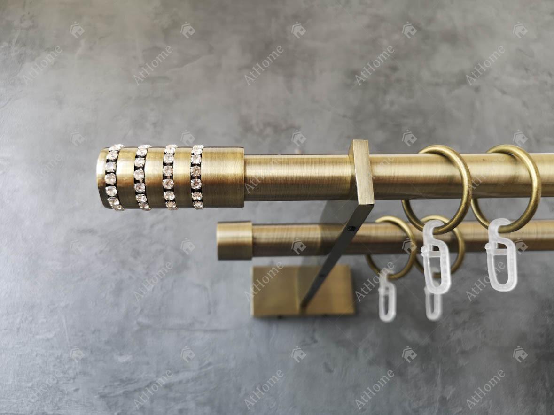 Карниз Quadrum Барамела 240 см подвійний Slim Антик 19/19 мм гладка (кільця з гачками)