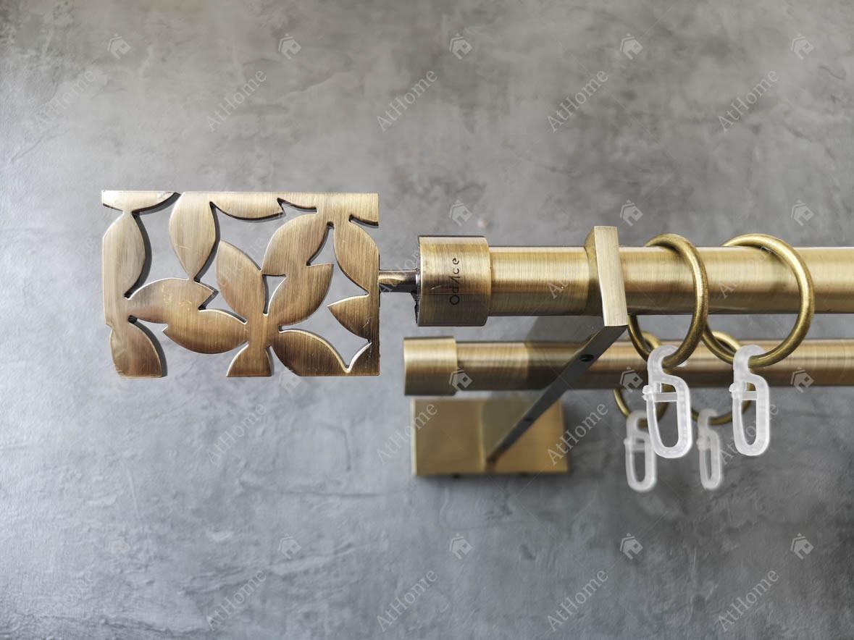 Карниз Quadrum Делія 240 см подвійний Slim Антик 19/19 мм гладка (кільця з гачками)