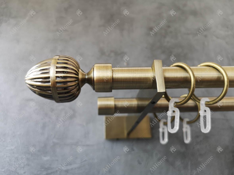 Карниз Quadrum Одеон 200 см подвійний Slim Антик 19/19 мм гладка (кільця з гачками)