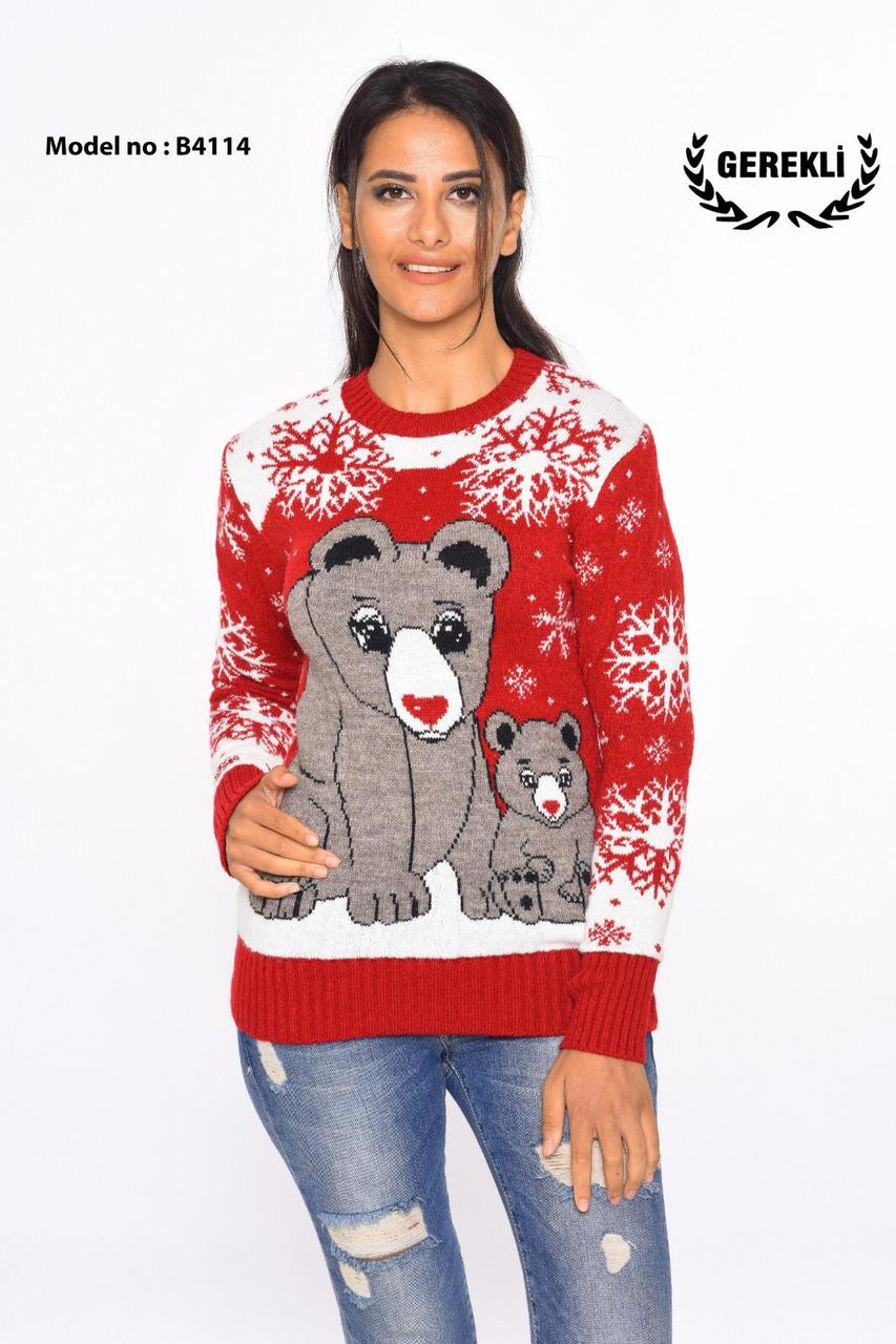 Шерстяні жіночі светри новорічні оптом та в роздріб G 4114