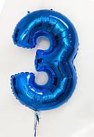 Цифра фольгированная Синяя с гелием 100 см (от 0 до 9) (поштучно) Flexmetal