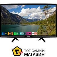 Черный led телевизор для кухни 24 smart tv Bravis LED-24G5000 Smart + T2 Black c композитный, компонентный, 2 x hdmi, usb, ethernet, wi-fi,