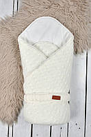 """Вязанный конверт-одеяло """"Косы"""" MagBaby светло-молочный"""