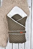 """Вязанный конверт-одеяло """"Косы"""" MagBaby хаки"""
