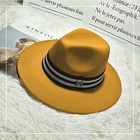 Шляпа фетровая WildJazz Федора в стиле Maison Michel с устойчивыми полями желтая, фото 1