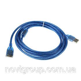 Подовжувач USB 2.0 AM / AF, 1.5m, 1 ферит, прозорий синій Q250